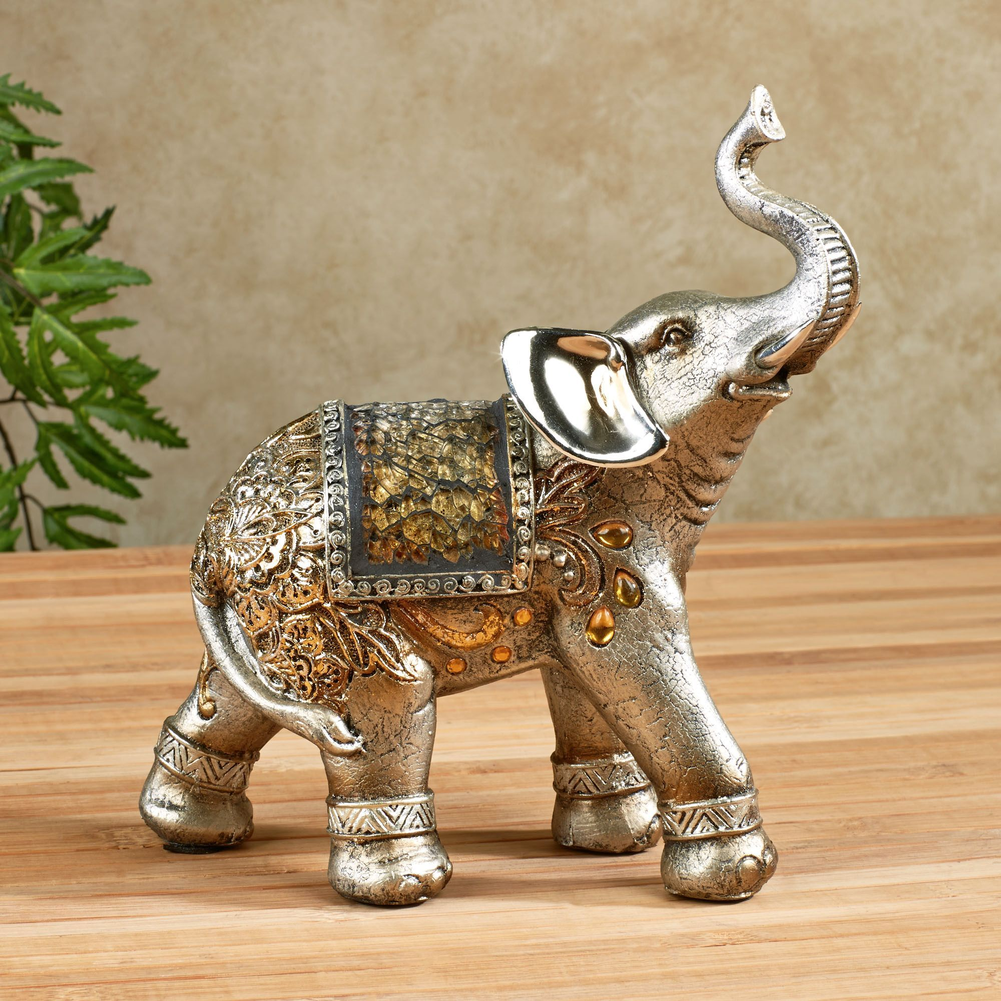 Wooden Elephants Figurines Bejeweled Mosaic Elephant Figurines For Home Decoration