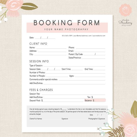 Photography Forms Client Booking Form For by StudioStrawberry - client information form template