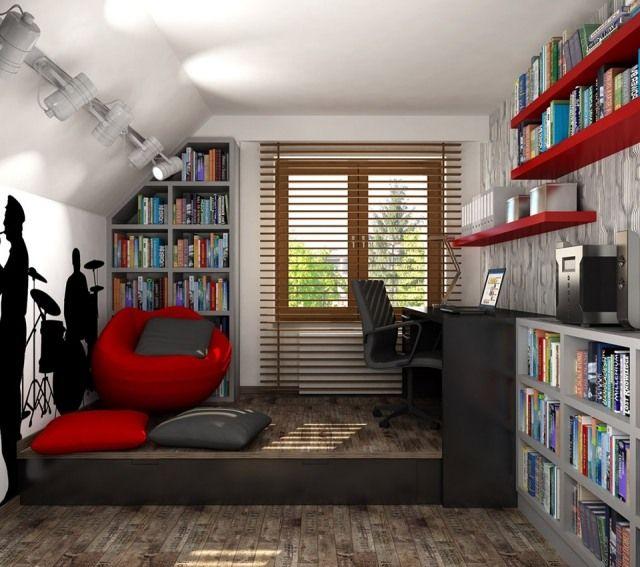 jugendzimmer ideen deko junge dachschräge musikfan - die Farben - dekoration farbe fur dachschragen