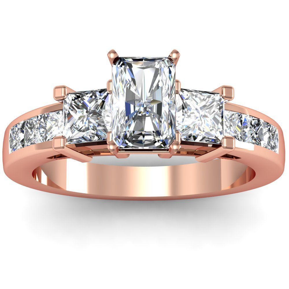 rose gold wedding rings Radiant Rose Gold Three Stone Engagement Ring A Flawless 14K Radiant Rose Gold Three Stone