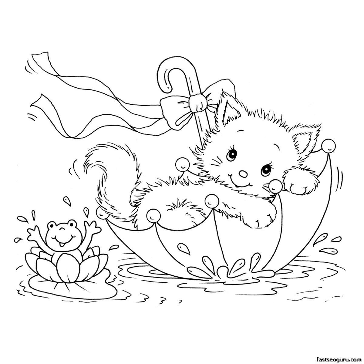 Free printable coloring pages kitty cat and frog in umbrella for kids free kitten cat coloring pages printable