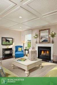The reverse tray ceiling creates a poignant contrast with ...