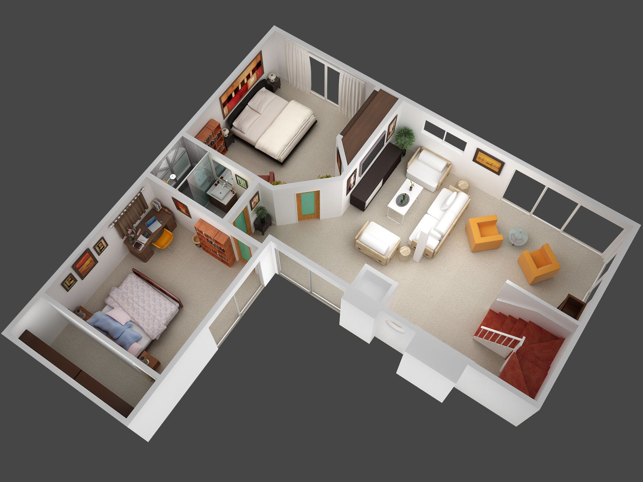 3d Planer 3d Mansion Floor Plans 3d Plan View Render Of Unit 5 Jpg