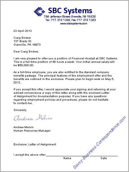 A job offer letter format Business Letters Pinterest Job - employment offer letters