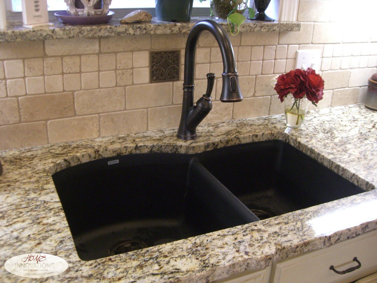 Marble Basin Countertop Composite Granite Double Bowl Sink Orb Delta Faucet