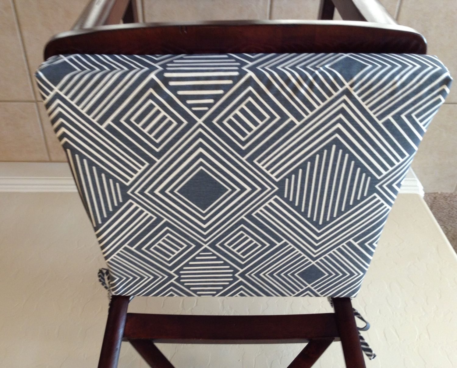 kitchen chair Geometric print seat cushion cover kitchen chair pad gunmetal blue gray on cream cotton fabric counter bar stool seat pad cover washable