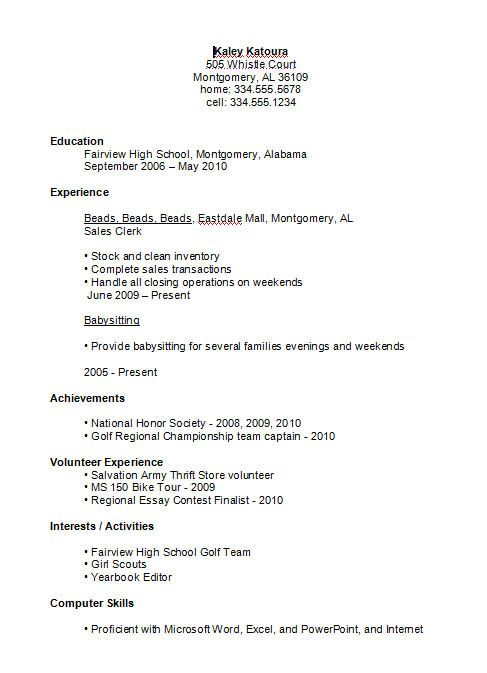 Resume Examples High School 10 High School Resume Templates Free - resume templates for highschool students