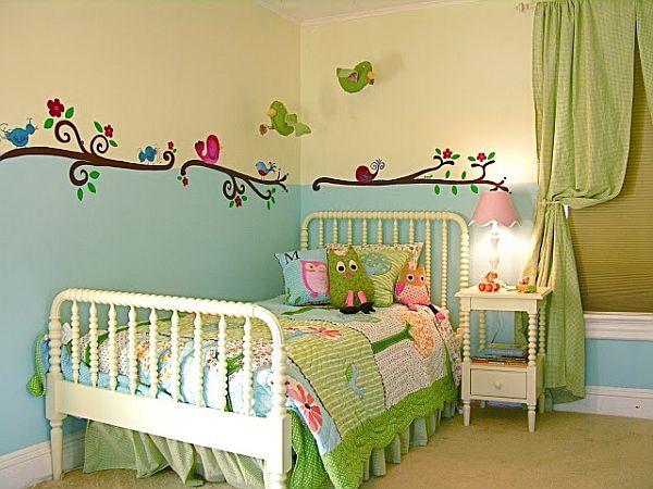 kinderzimmer für mädchen grün türkis frisch vögel prinzessin - kinderzimmer blau mdchen