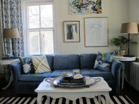 Living Room with Navy Blue Couch and Strip Rug Decor Ideas ...