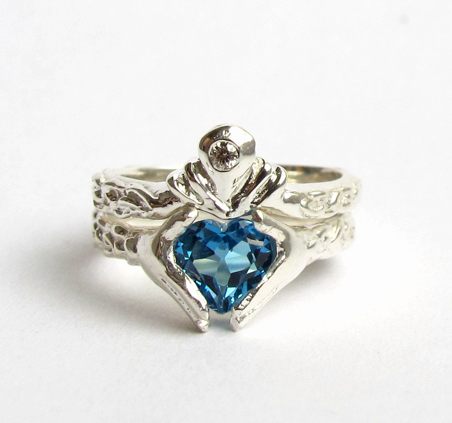 irish wedding band Claddagh Ring Wedding Set White Gold and Diamond Blue Topaz or Red Garnet Engagement Ring and Wedding Band Rickson