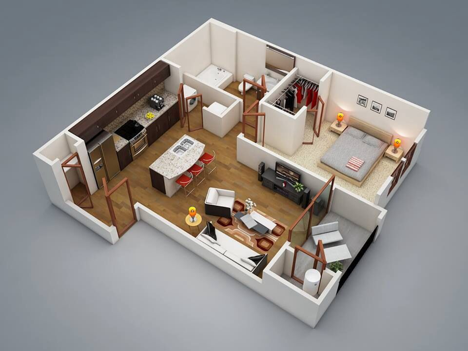 Aprox50m2 obe bedroom Plans Pinterest Bedrooms, Apartments - one bedroom house plans