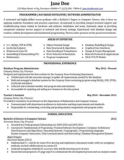 Click Here to Download this Programmer or Database Developer or - sample database administrator resume