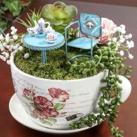 French Inspired Miniature Tea Cup Garden and Saucer Flower ...