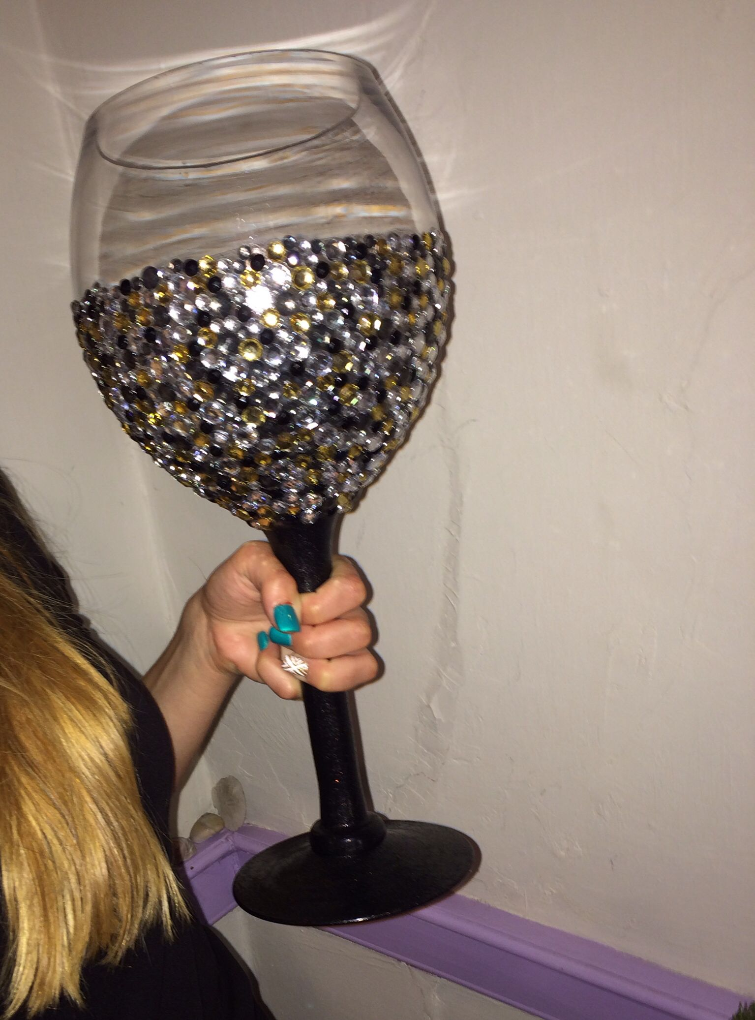 Giant Wine Glass Decorations Studded Giant Wine Glass Painted The Stem With Glass