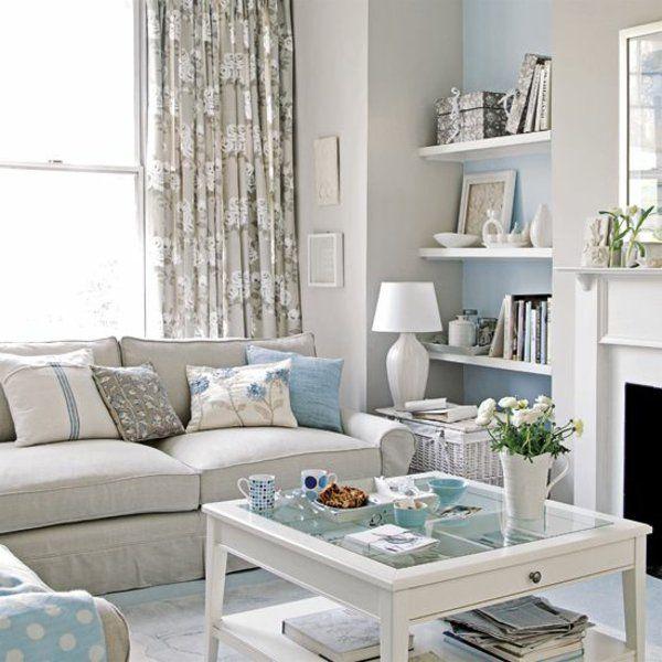 wohnzimmer helles interieur pastellfarben blau beige - wohnzimmer beige blau