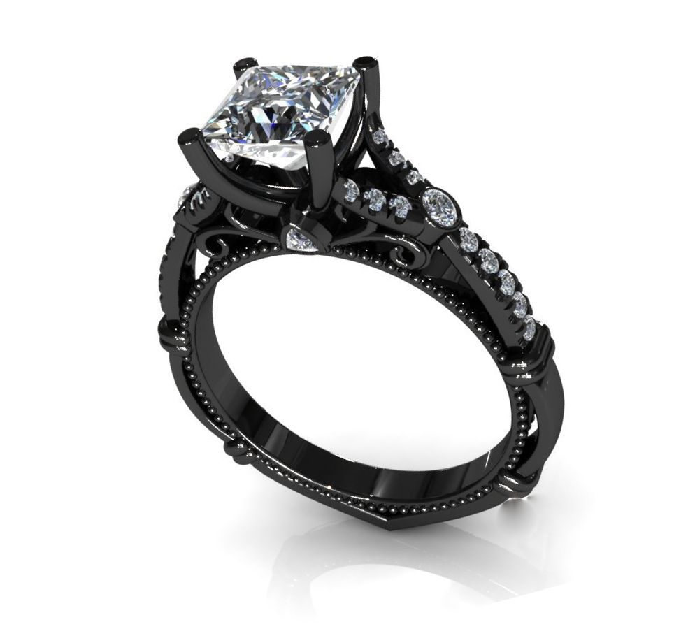 overstock wedding rings Noori 14k Black Gold 3 7 8ct TDW Certified Princess cut Black Diamond Bridal Set by Noori Collection Engagement Wedding ring and Engagement rings