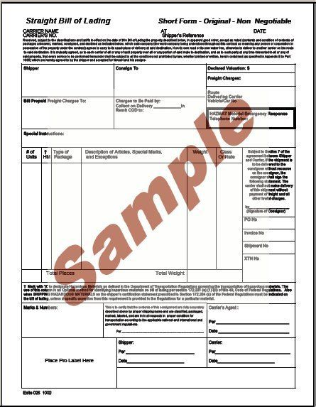 Bill Of Lading Template Printable Sample Bill Of Lading Pdf Form - blank bol form