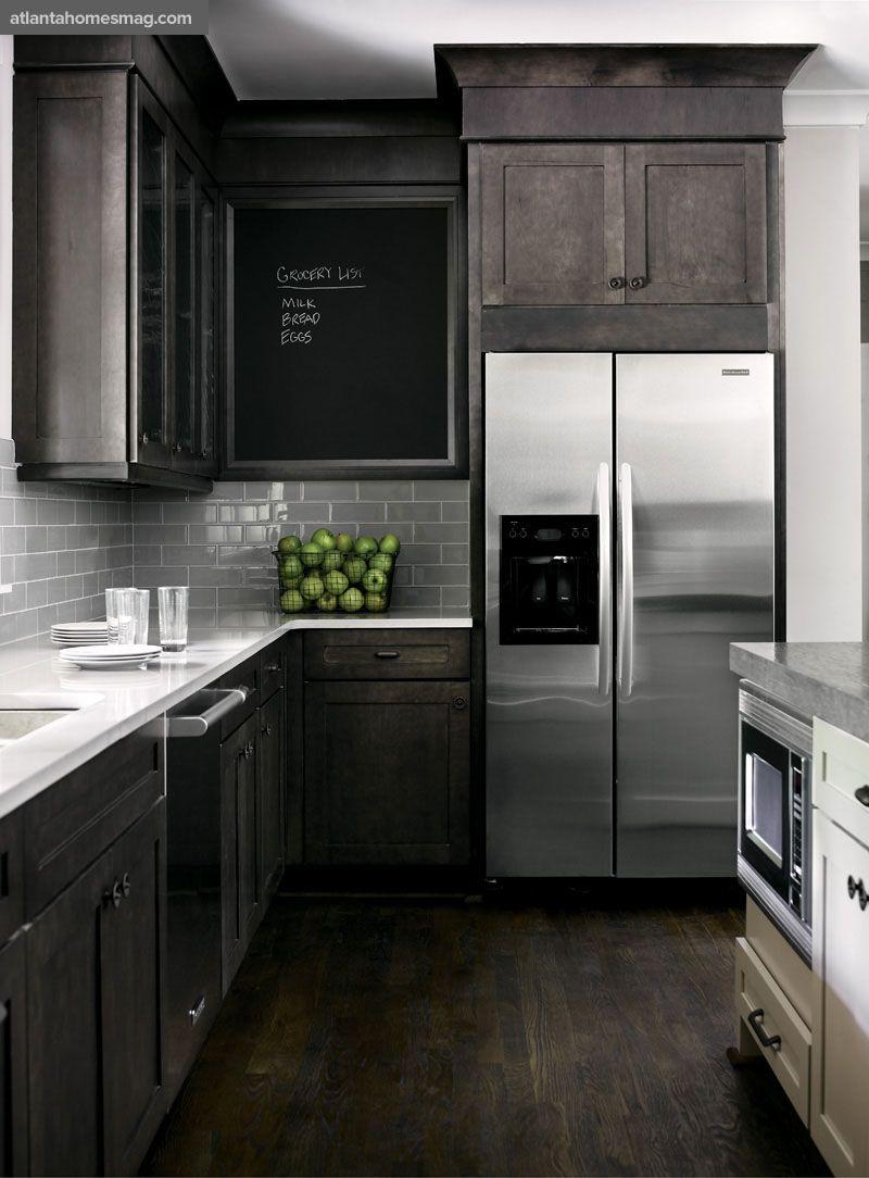 wood floor kitchen Dark rustic wood mixed with modern elements gray white kitchen
