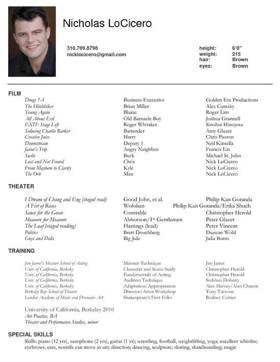 Actor Resume Examples Acting Resume Sample Writing Tips Resume - sample actors resume