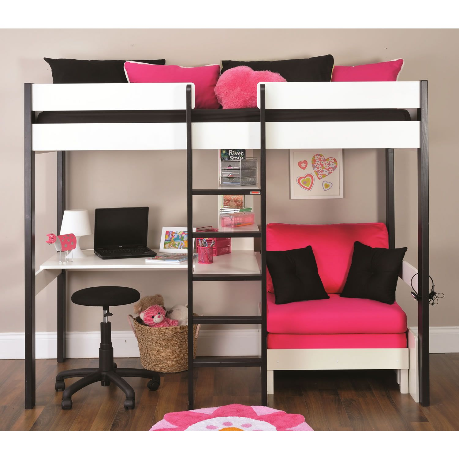 The stompa storage bunk bed frame provides sleeping space for 2 children and storage compartments under