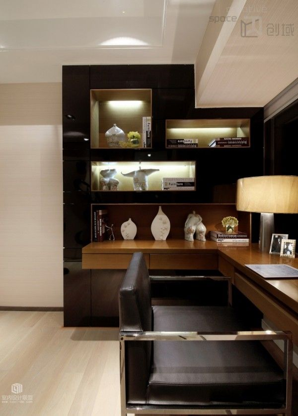 Modern Home Office Magnificent Wall design, lighting showcasing - modern home office ideas