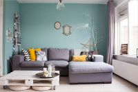Lovely Living Room Interior Desig with Blue Wall Paint ...