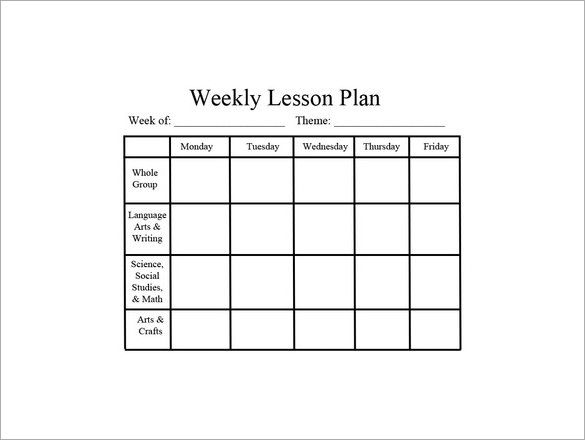 Weekly-Preschool-Lesson-Plan-PDF-Downloadjpg (585×440) School - preschool lesson plan template