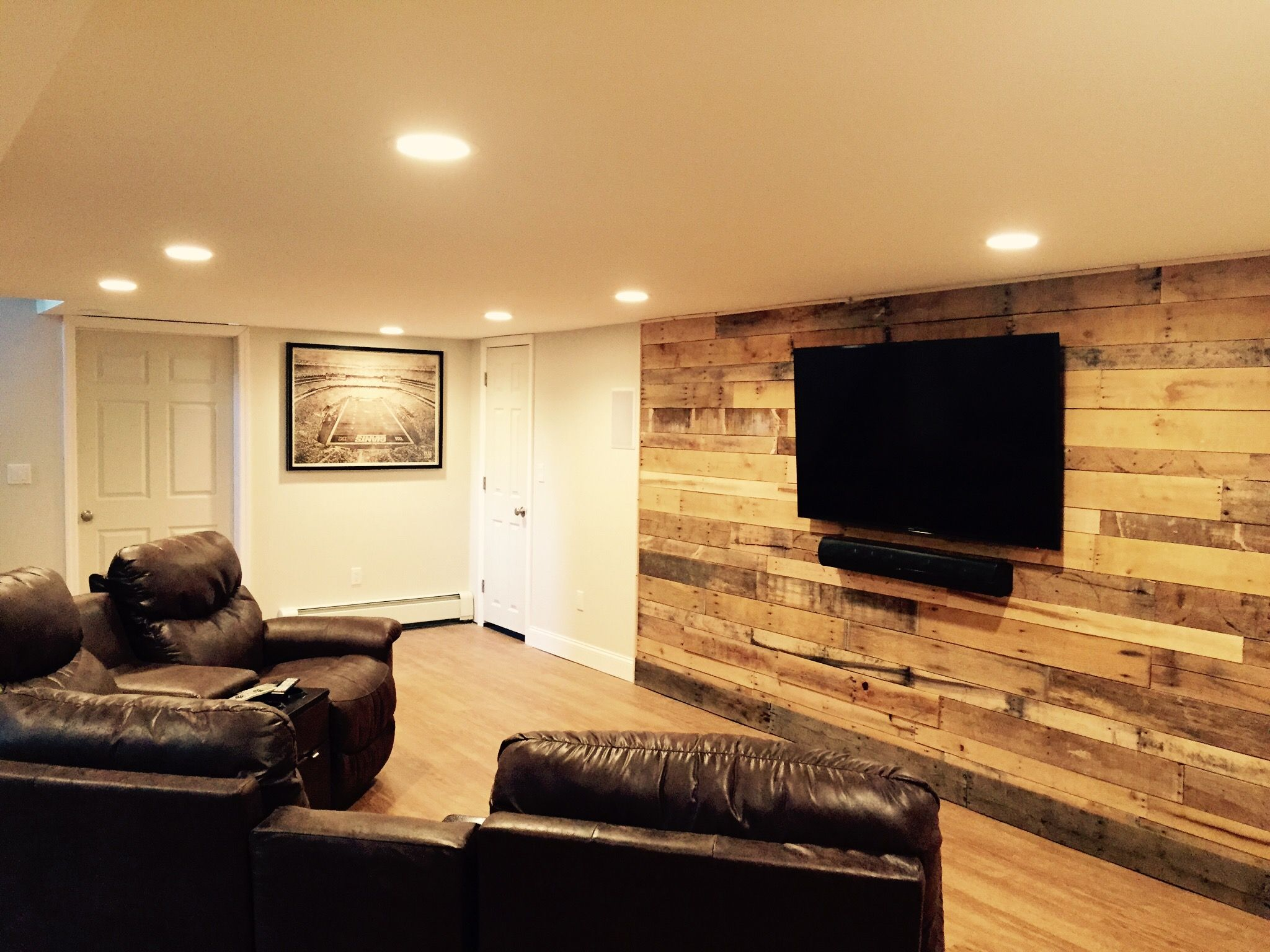 Basement Tv Ideas Pallet Wall In Our Finished Basement Quotdave Cave Quot Cost