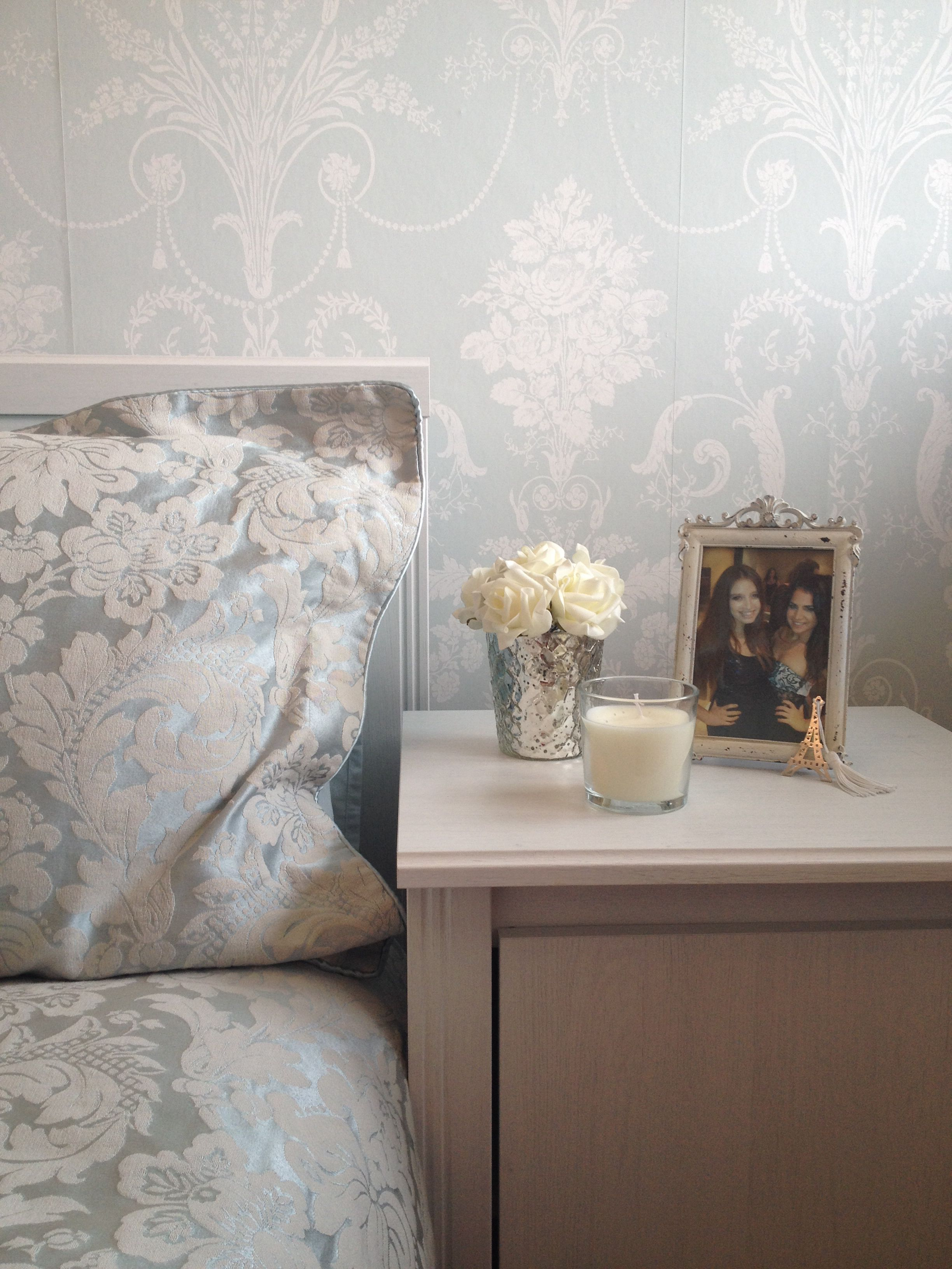 Duck Egg Wallpaper Bedroom Ideas Duck Egg Bedside Table Feature Wall Damask Laura Ashley