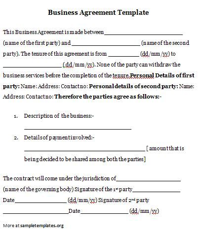 Business Agreement #business #agreement #template Agreement - sample business agreements