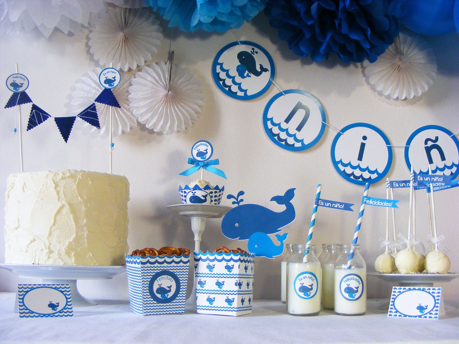 Decoracion Mesas Baby Shower Niño Kit Baby Shower Ballenas Gender Reveal Party