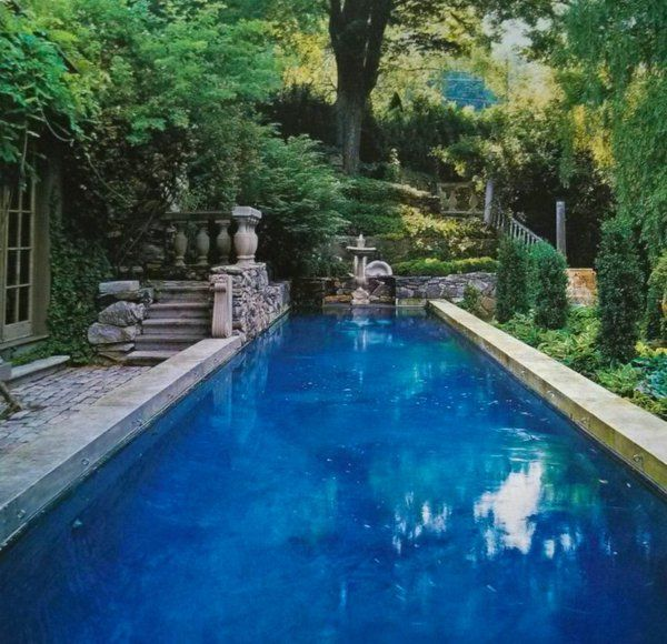 rechteck poolgestaltung im garten hohe pflanzenbeete Pool und - poolgestaltung garten
