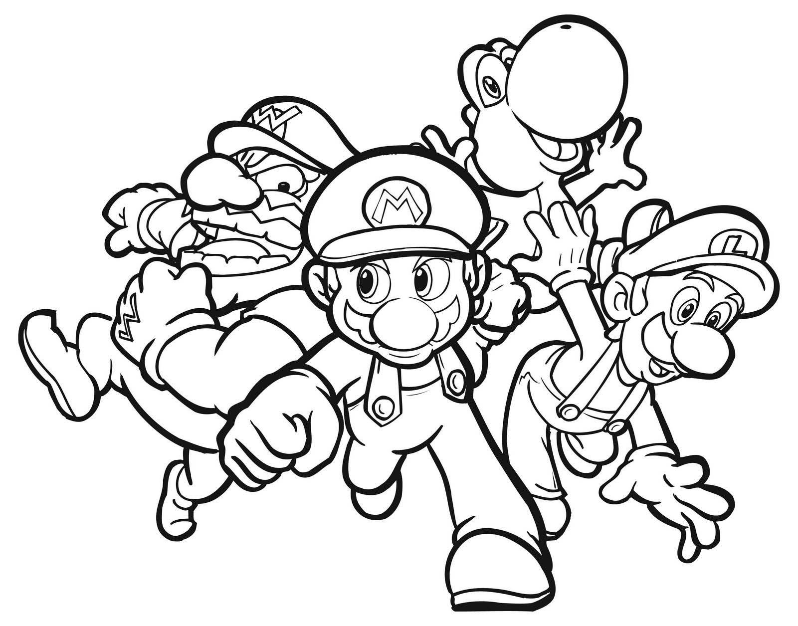 Mario brothers wario luigi yoshi nintendo color pages
