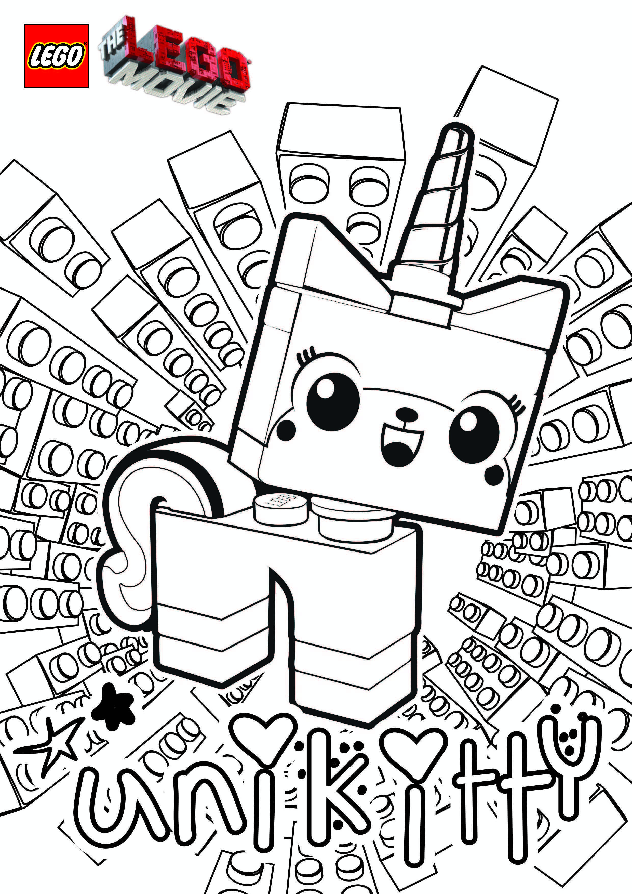 Princess unikitty coloring pages lego movie party ideas goody bags or party activity lego coloring