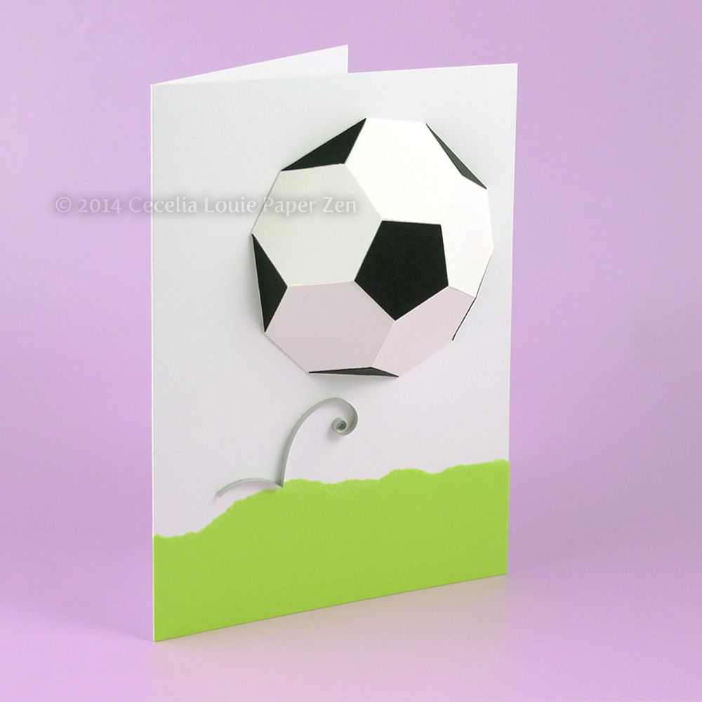 3d soccer ball birthday card