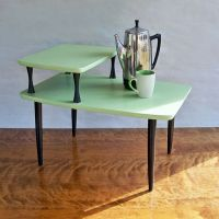 Mid Century Modern 2 Tiered End Table - Side Table - Melon ...