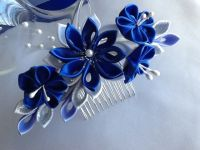 Hair Comb - Royal Blue Cobalt Blue Silver and White ...