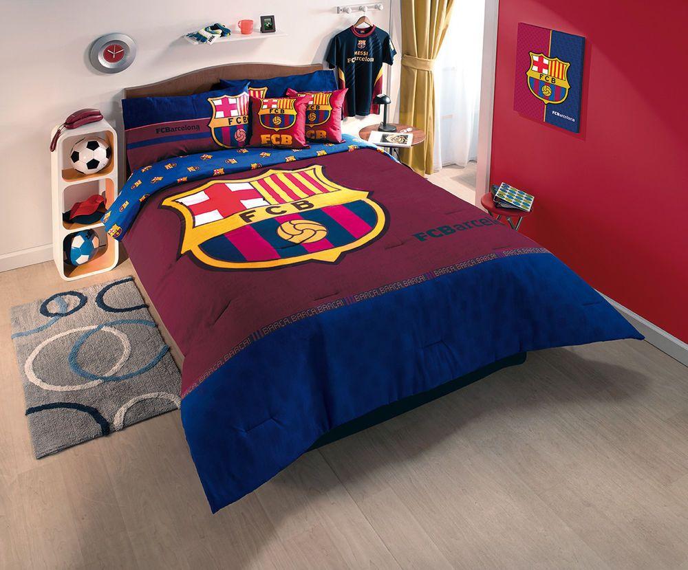New Blue Fcb Club Barcelona Soccer Comforter Bedding Sheet