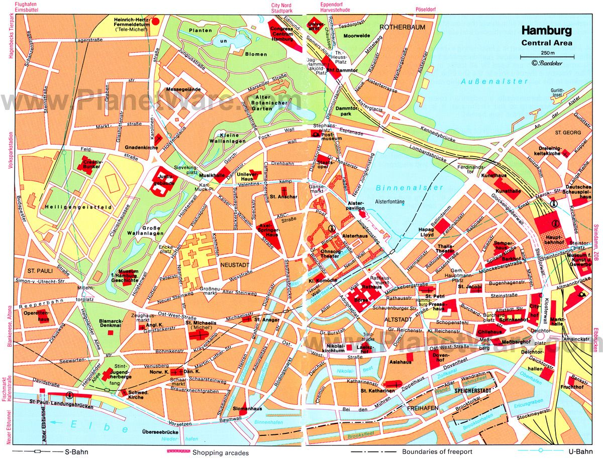 Hamburg City Card Hamburg Central Area Map Tourist Attractions Places