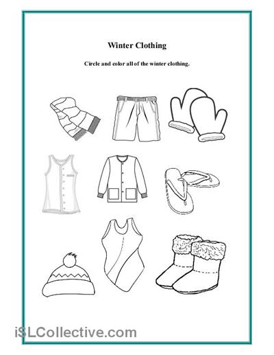 Preschool Winter Clothing Worksheet