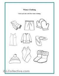 Preschool Winter Clothing Worksheet