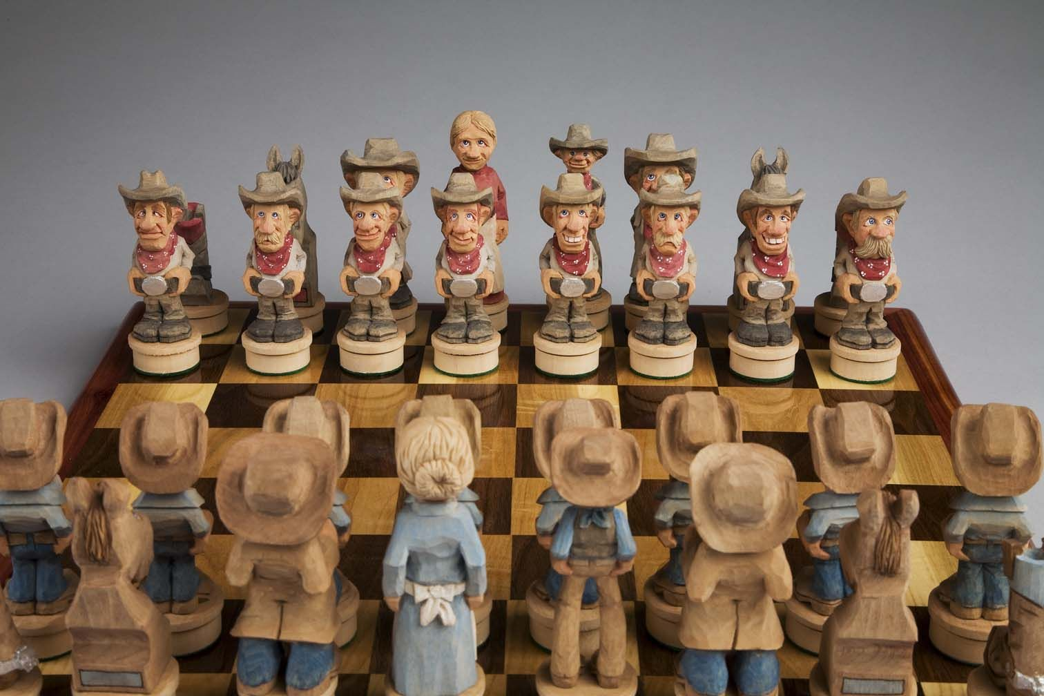 Chest Game Set Keith Morrill Old West Cowboy Chess Set