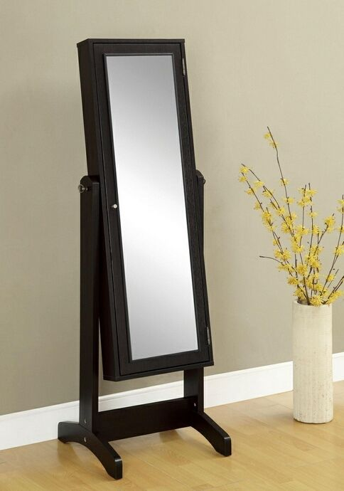 Standing Mirror With Jewelry Storage Canada Espresso Finish Wood Free Standing Full Length Mirror With