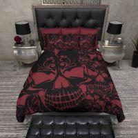 Red and Black Collage Skull Bedding   Duvet bedding ...