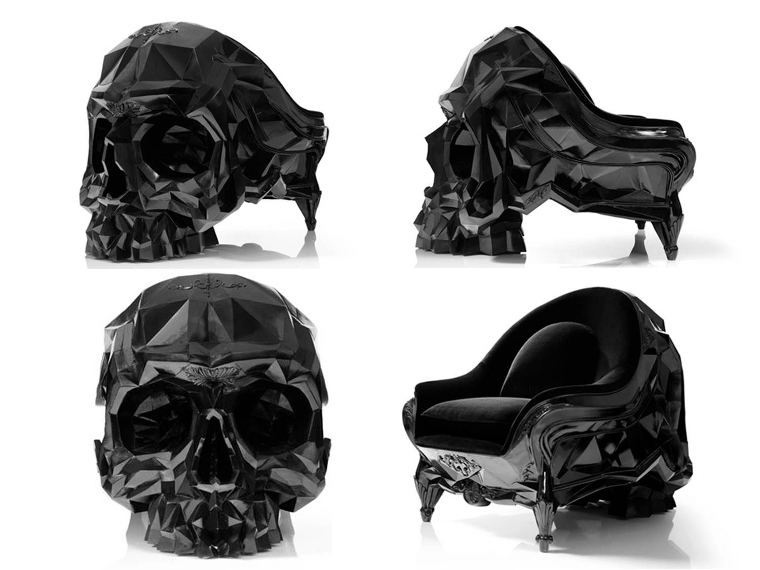 Geometric skull chair by french artist harold sangouard