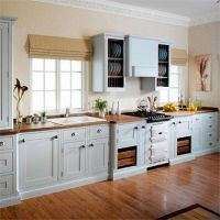 Light Grey & cream hand-painted in frame kitchen showing ...