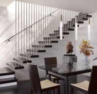 Wooden Stair Railing Ideas With Dining Area For House In ...