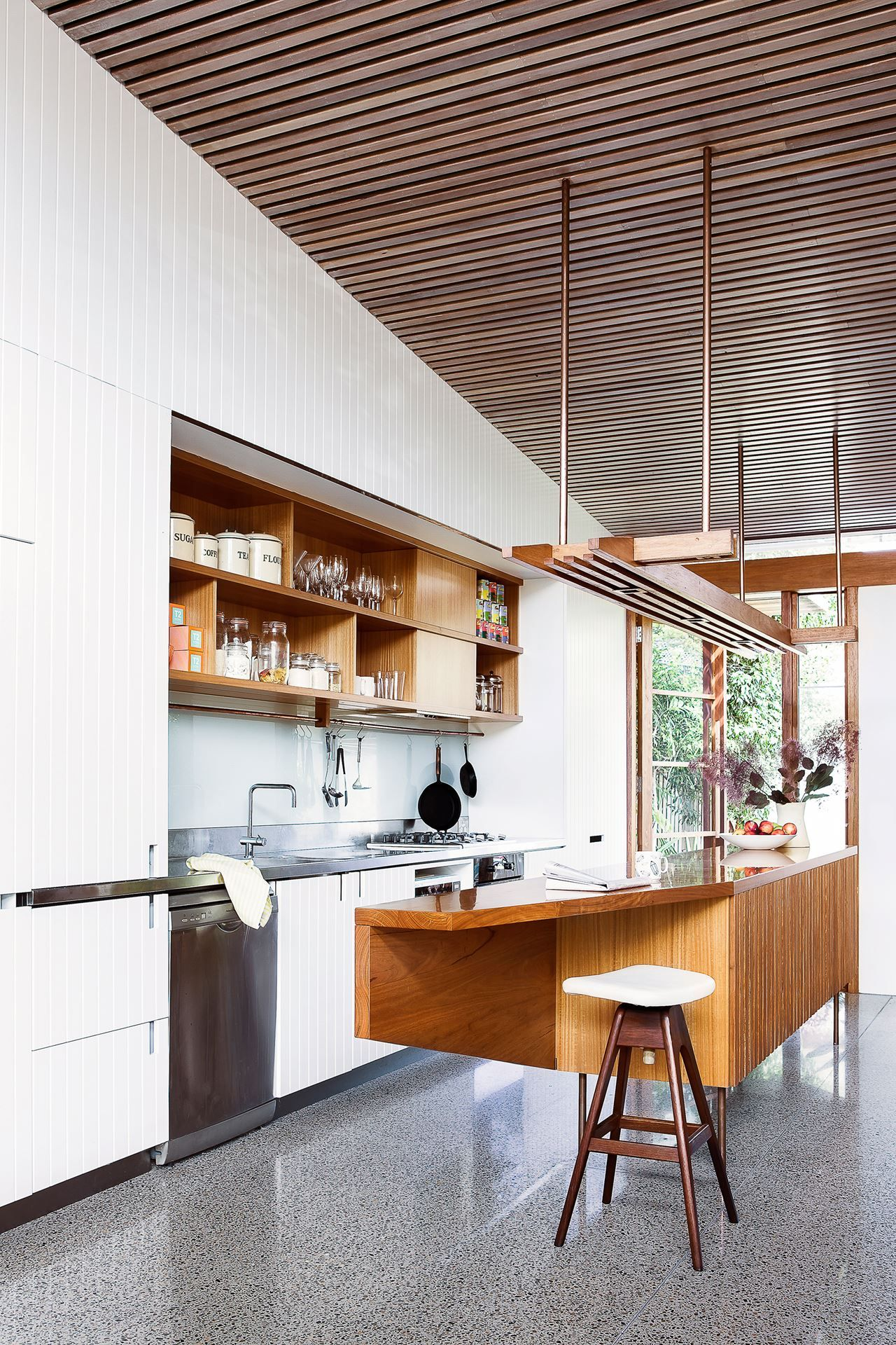 Kitchen Cabinets To Ceiling With Glass Kitchen Blackbutt Timber Ceiling Battens White Cabinets