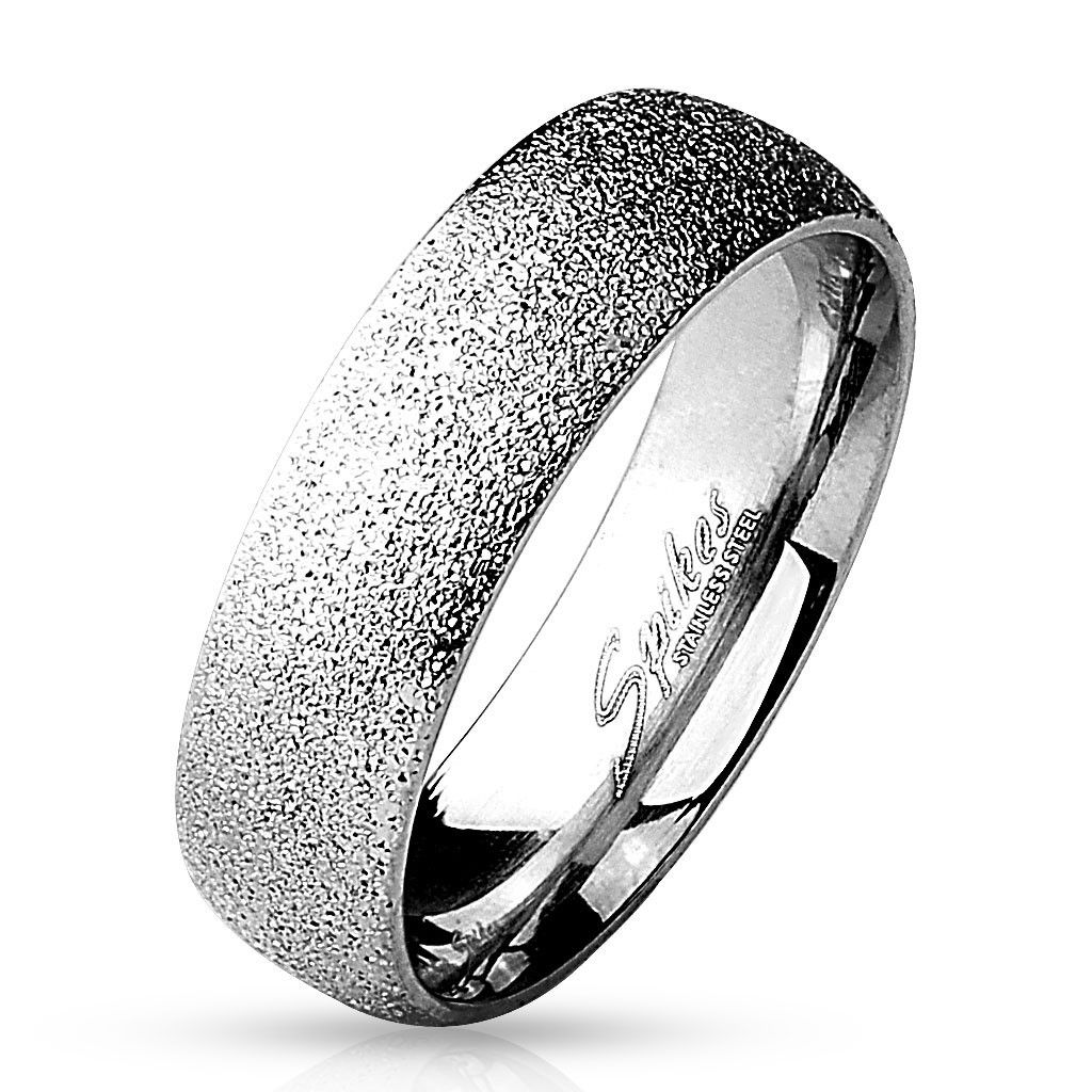 stainless steel wedding bands 6mm Sand Sparkle Finish Dome Surface L Stainless Steel Wedding Band 5 12