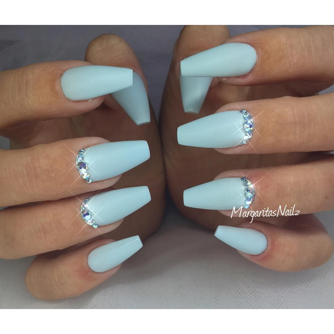 Baby Matte Baby Blue Matte Coffin Nails Margaritasnailz Pinterest
